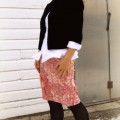 vintage jacket with refashioned pink skirt