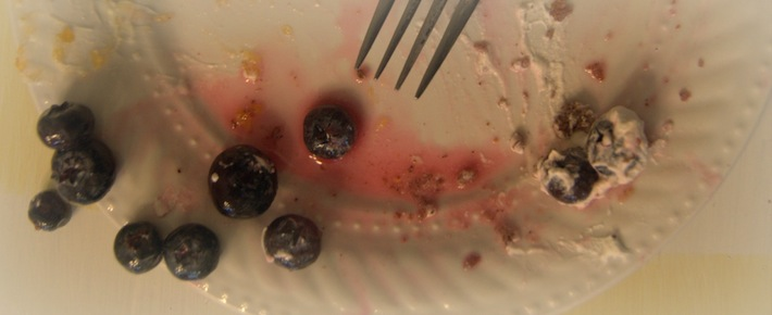 last bite: healthy pancakes with blueberry sauce